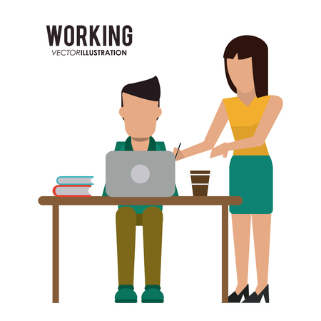 girl laptop: Working concept with icon design, vector illustration 10 eps graphic.