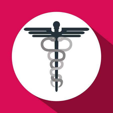 caduceo: el concepto del cuidado médico con el diseño de iconos, ilustración vectorial eps 10 gráfico. Vectores