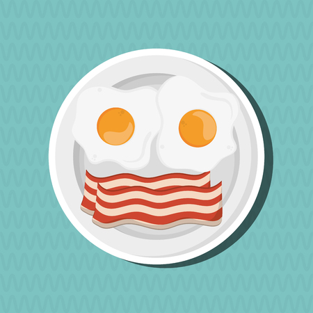 bacon art: Breakfast concept with icon design, vector illustration 10 eps graphic. Illustration