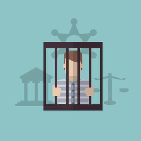 carcel: Ley y Justicia concepto con el diseño de iconos, ilustración vectorial eps 10 gráfico. Vectores