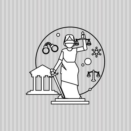 Recht und Gerechtigkeit Konzept mit Icon-Design, Vektor-Illustration 10 EPS-Grafik.
