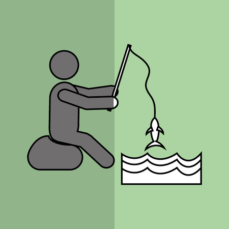 lake shore: Fishing concept with icon design, vector illustration 10 eps graphic.