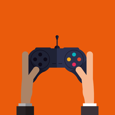 obsession: Video game concept with control icon design, vector illustration 10 eps graphic.