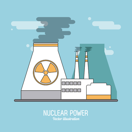 clipart chimney: nuclear plant concept with icon design, vector illustration 10 eps graphic. Illustration