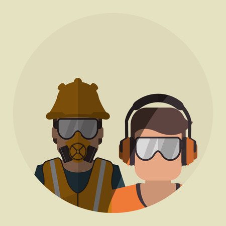 industrial worker: Safety concept with icon design, vector illustration 10 eps graphic