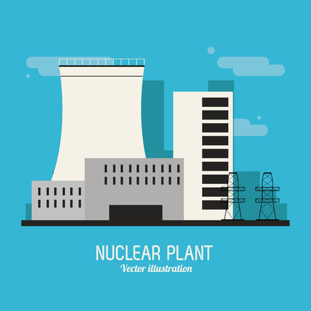 cooling tower: nuclear plant concept with icon design, vector illustration 10 eps graphic. Illustration
