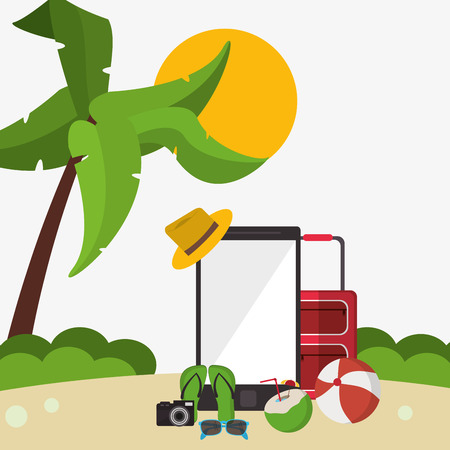 sandal tree: vacations concept with icon design, vector illustration 10 eps graphic. Illustration