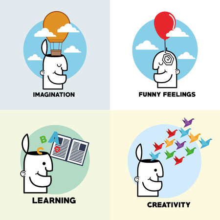 mindfulness: Mind concept with icon set design, vector illustration 10 eps graphic.