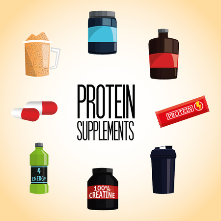 Protein supplement concept with icon design, vector illustration 10 eps graphic.