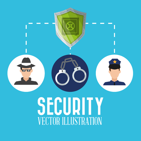 concept de sécurité avec la conception de l'icône, illustration vectorielle 10 graphique eps. Vecteurs