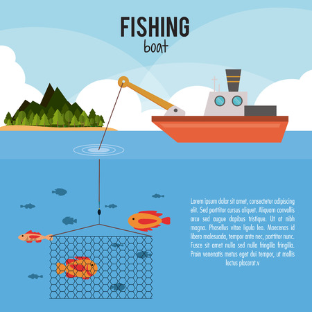 fishing boats: Fishing concept with icon design, vector illustration 10 eps graphic.