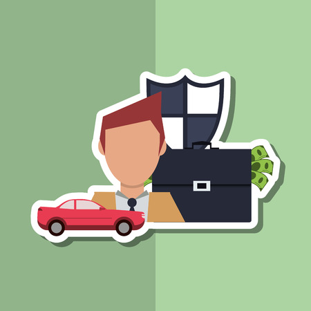 car bills: Insurance concept with icon design, vector illustration 10 eps graphic.