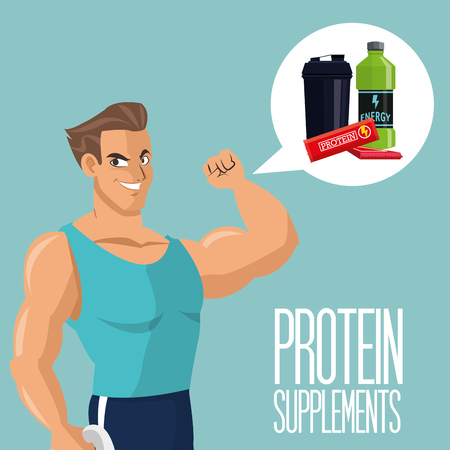 eps 10: Protein supplement concept with icon design, vector illustration 10 eps graphic.