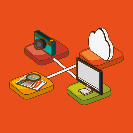 r image: technology concept with icon design, vector illustration 10 eps graphic.