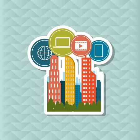 city icon: Smart concept with city icon design, vector illustration 10 eps graphic. Illustration