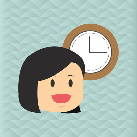 lady clock: Businesspeople concept with icon design, vector illustration 10 eps graphic. Illustration