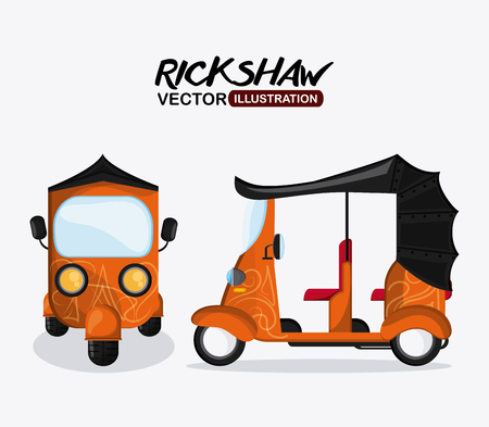 highway 3: rickshaw concept with icon design, vector illustration 10 eps graphic.