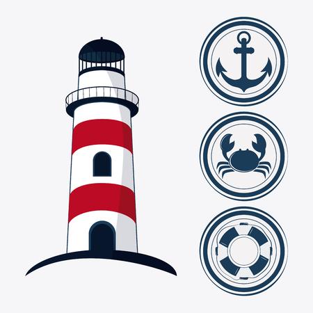 Lighthouse concept with icon design Векторная Иллюстрация
