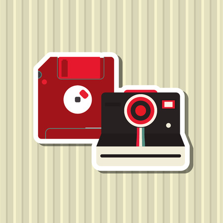 digicam: vintage camera concept with icon design, vector illustration 10 eps graphic.