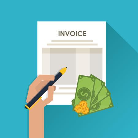 accounting records: concepto de factura con el dise�o de iconos, ilustraci�n vectorial eps 10 gr�fico.