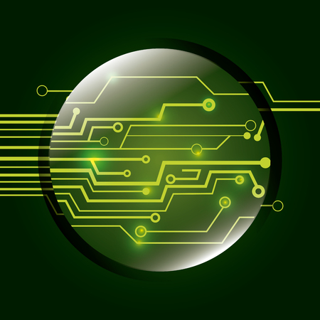 green technology: Circuit board concept with icon design, vector illustration 10 eps graphic. Illustration