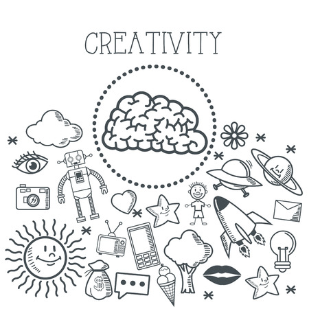creative brain: Doodle concept with icon design, vector illustration 10 eps graphic.