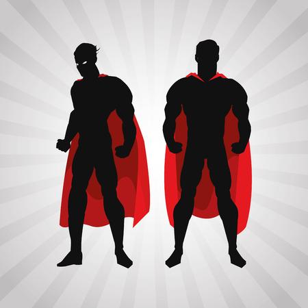 defending: Superhero concept with icon design, vector illustration 10 eps graphic. Illustration