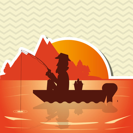 recreational fishermen: Fisherman concept with icon design, vector illustration 10 eps graphic.