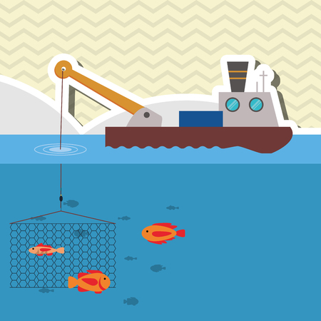fishing boats: Fishing boat concept with icon design, vector illustration 10 eps graphic. Illustration