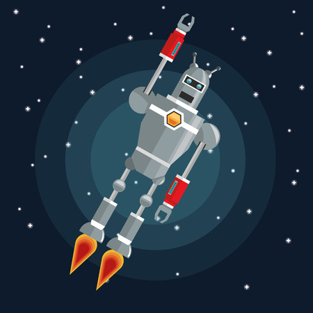 fires artificial: Robot concept with icon design, vector illustration 10 eps graphic. Illustration