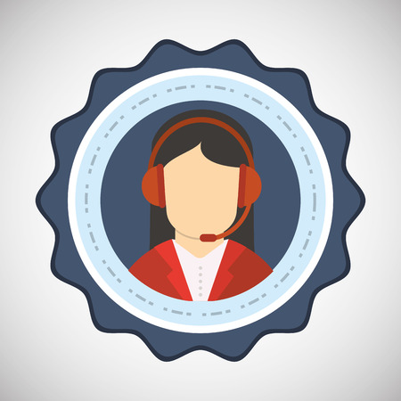 call center female: Call center concept with icon design, vector illustration  graphic.