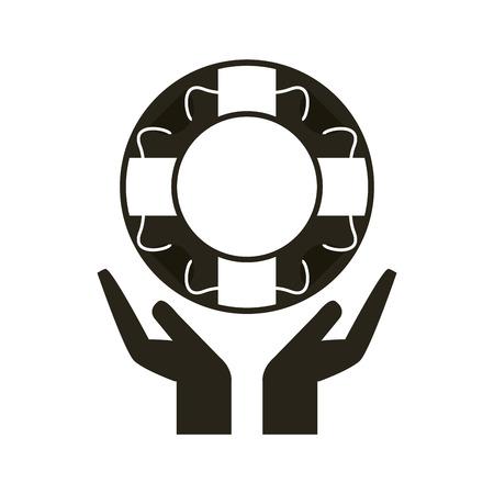 collaborative: Help concept with icon design, vector illustration