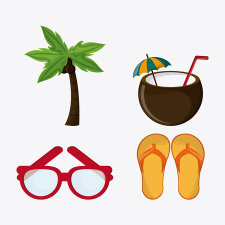 sandal tree: Summer concept with icon design, vector illustration 10 eps graphic. Illustration