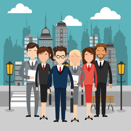 urban planning: Businesspeople concept with icon design, vector illustration