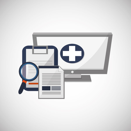 clinic history: Medical care concept with icon design, vector illustration 10 eps graphic.