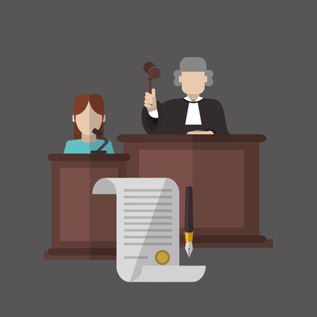 female judge: Law concept with icon design, vector illustration 10 eps graphic.