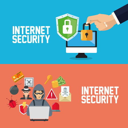 email security: Internet security concept with icon design, vector illustration 10 eps graphic.