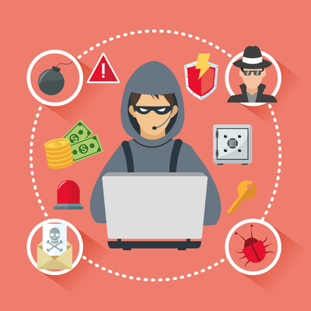 email bomb: Internet security concept with icon design, vector illustration 10 eps graphic.