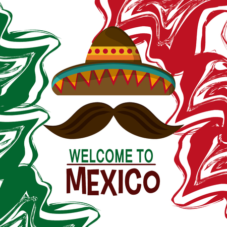 mexico culture: Mexico culture icons in flat design style, hat and mustache. vector illustration