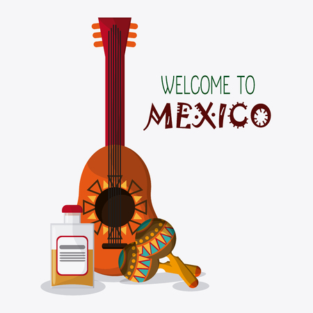 mexico culture: Mexico culture icons in flat design style, guitar, maracas and tequila, vector illustration