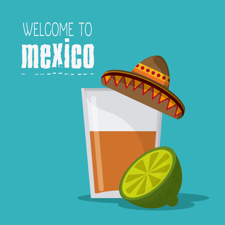 mexico culture: Mexico culture icons in flat design style,tequila glass with hat and lemmon slice. vector illustration Illustration
