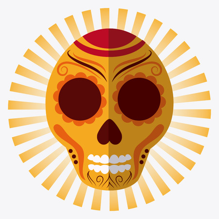 mexico culture: Mexico culture icons in flat design style, skull vector illustration
