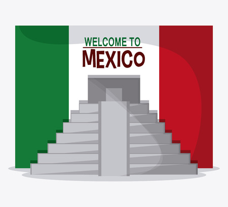mexico culture: Mexico culture icons in flat design style, maya pyramid, vector illustration