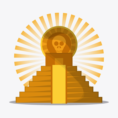 mexico culture: Mexico culture icons in flat design style, maya pyramid with skull, vector illustration