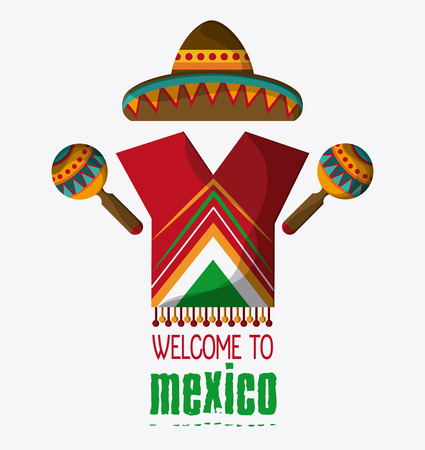 mexico culture: Mexico culture icons in flat design style,maracas and hat, vector illustration Illustration