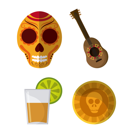 mexico culture: Mexico culture icons in flat design style, set of skull, guitar, tequila with lemmon and skull. vector illustration Illustration