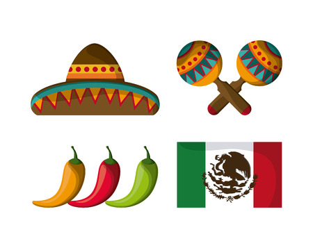 mexico culture: Mexico culture icons in flat design style, hat, maracas, pepper and flag, vector illustration