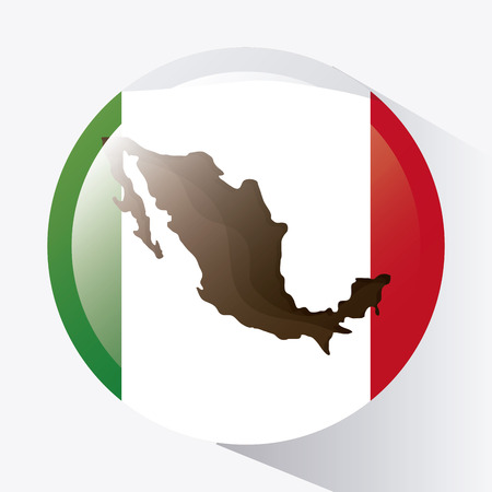 mexico culture: Mexico culture icons in flat design style, flag and map, vector illustration Illustration