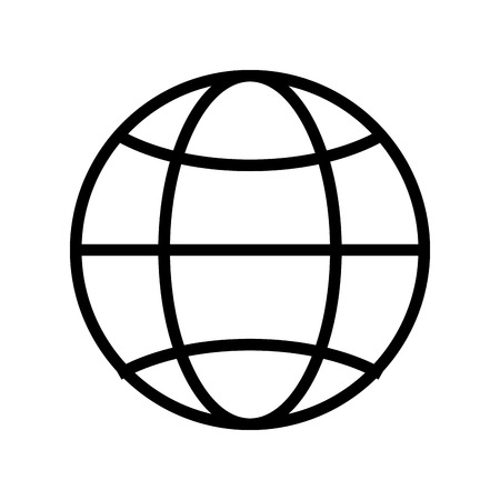 latitude: simple globe diagram with latitude lines and meridians vector illustration isolated over white Illustration