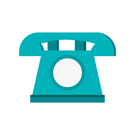 telemarketer: blue telephone with white circle in the center vector illustration isolated over white